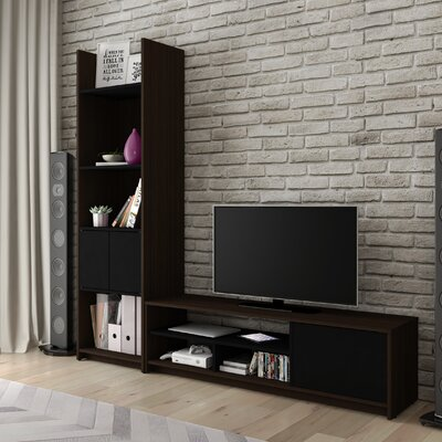 Small Space Entertainment Center Finish: Dark Chocolate/Black