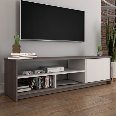 Small Space TV Stand Finish: Dark Gray/White