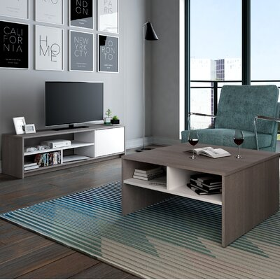 Small Space 2-Piece Storage Coffee Table and TV Stand Set Finish: Dark Gray/White
