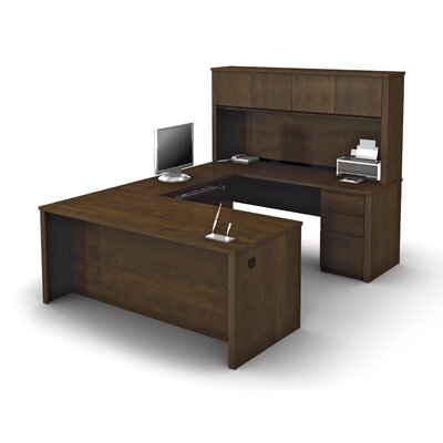 Prestige + U-Shape Executve Desk with Hutch Color: Chocolate Product Photo 6821