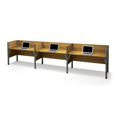 Pro-Biz Triple Side-by-Side Workstation with 3 Privacy Panels (Per Workstation) Finish: Cappuccino Cherry