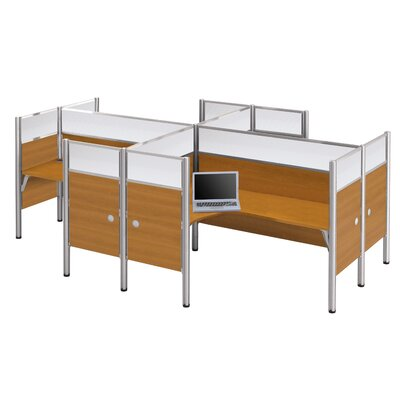 Pro-Biz Four L-Desk Workstation with 8 Privacy Panels Finish: Cappuccino Cherry