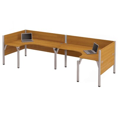 Pro-Biz Double Back-to-Back L-Desk Workstation with 3 Privacy Panels Finish: Cappuccino Cherry