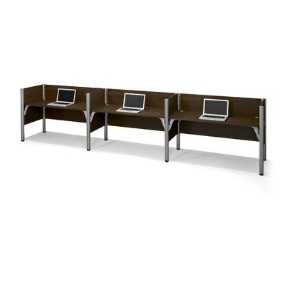 Pro-Biz Triple Side-by-Side Workstation with 3 Privacy Panels (Per Workstation) Finish: Dark Chocolate