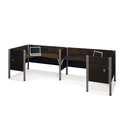 Pro-Biz Double Side-by-Side L-Desk Workstation with 4 Privacy Panels (Per Workstation) Finish: Dark Chocolate