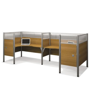 Pro-Biz Double Side-by-Side L-Desk Workstation with 8 Privacy Panels Finish: Cappuccino Cherry