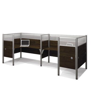 Pro-Biz Double Side-by-Side L-Desk Workstation with 8 Privacy Panels Finish: Dark Chocolate Product Picture 6583