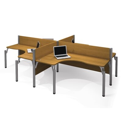 Pro-Biz Four L-Desk Workstation with 4 Privacy Panels Finish: Cappuccino Cherry