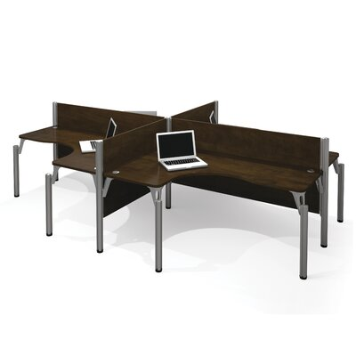 Pro-Biz Four L-Desk Workstation with 4 Privacy Panels Finish: Dark Chocolate