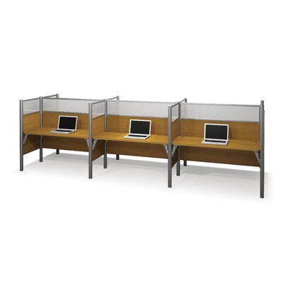 Pro-Biz Six-Straight Desk Workstation with 6 Privacy Panels (Per Workstation) Finish: Cappuccino Cherry