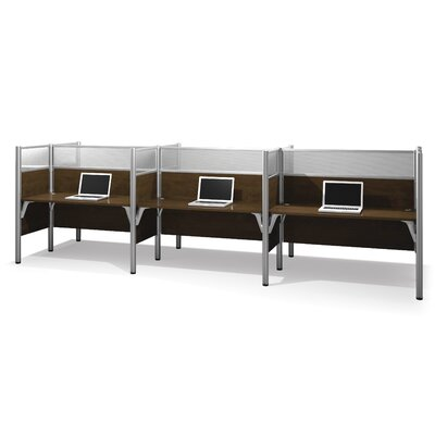 Pro-Biz Six-Straight Desk Workstation with 6 Privacy Panels (Per Workstation) Finish: Dark Chocolate