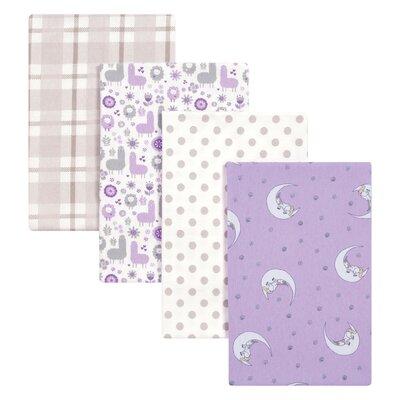 4 Piece Llamas and Unicorns Flannel Blanket Set