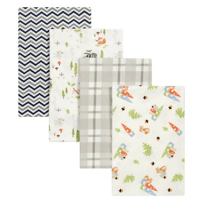 4 Piece Woodsy Gnomes Flannel Blanket Set