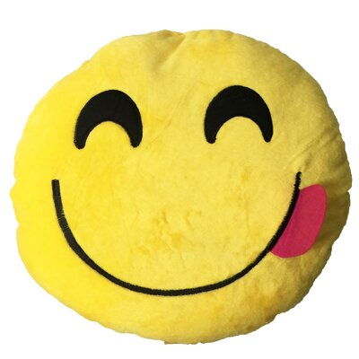 Smiley Face with Red Tongue Stick Out Emoji Sofa Cushion