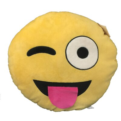 Smily Face With Single Eye And Tong Stick Out Emoji Cushion