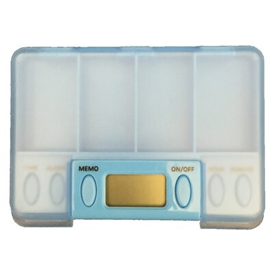 Battery-Operated Multi-Alarm Pills Reminder 4 x 2.75 Medicine Organizer with Digital Reminder