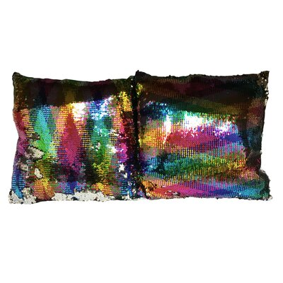 Hesse Sequin Rainbow Linen Throw Pillow