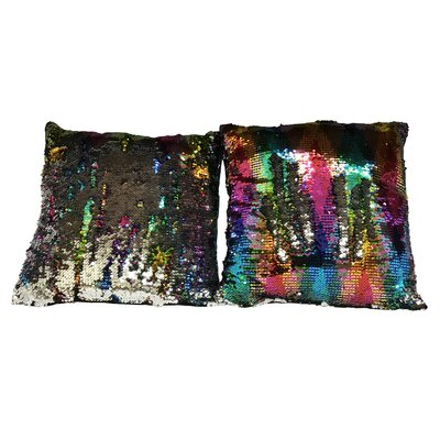 Hession Sequin Rainbow Linen Throw Pillow