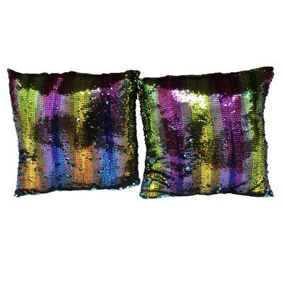 Hessler Sequin Rainbow Linen Throw Pillow