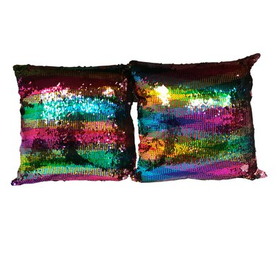 Hester Street Sequin Rainbow Linen Throw Pillow