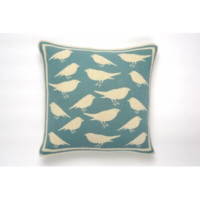 Bird Cushion Cotton Throw Pillow Color: Blue/Natural