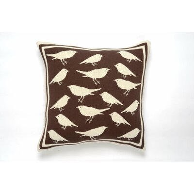 Bird Cushion Cotton Throw Pillow Color: Brown/Natural