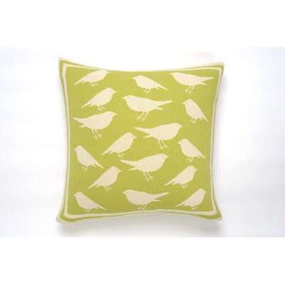 Bird Cushion Cotton Throw Pillow Color: Green/Natural