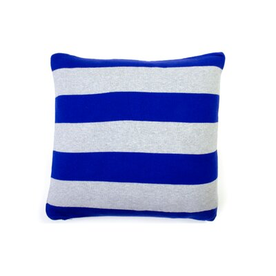 Rugby Stripe Cotton Throw Pillow Color: Dazzling Blue Gray Melange