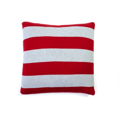 Rugby Stripe Cotton Throw Pillow Color: Red Gray Melange