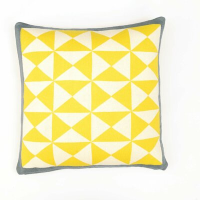 Wind Farm Cushion Cotton Throw Pillow Color: Sulphur Yellow/Natural/Dark Gray