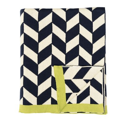 Polygon Cotton Throw Color: Navy/Natural/Green
