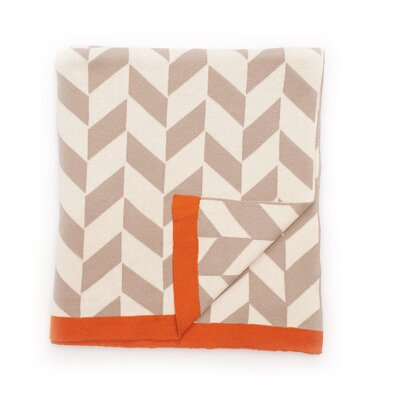Polygon Cotton Throw Color: Stone/Natural/Burnt Orange