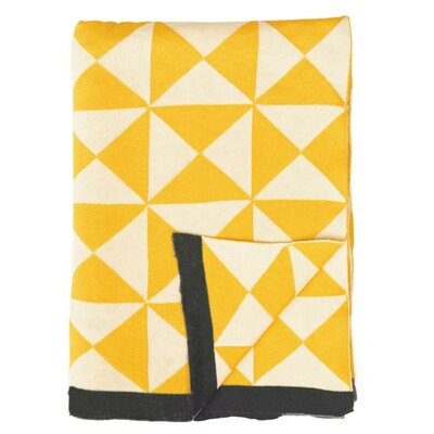 Wind Farm Cotton Throw Color: Sulphur Yellow/Natural/Dark Gray