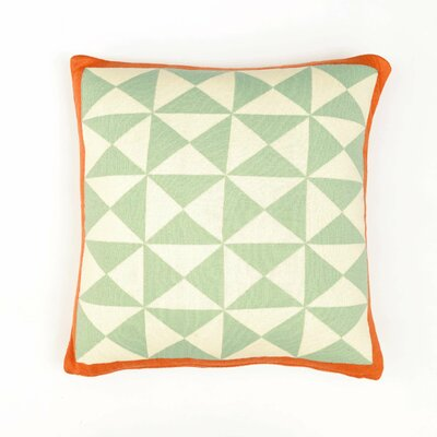 Wind Farm Cushion Cotton Throw Pillow Color: Sage Green/Natural/Orange