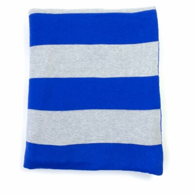 Rugby Stripe Cotton Throw Color: Dazzling Blue Gray Melange