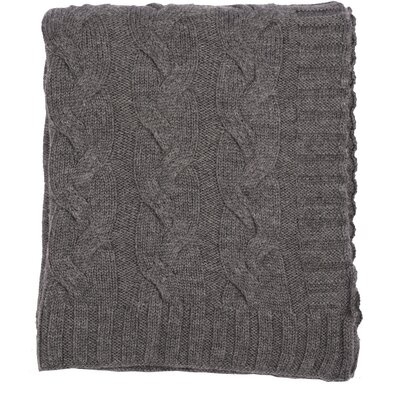 Hampton 100% Merino Wool Throw Color: Charcoal Gray Melange