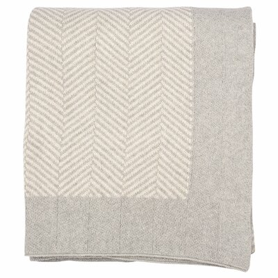 Herringbone 100% Cotton Throw Color: Soft Gray Melange/Natural
