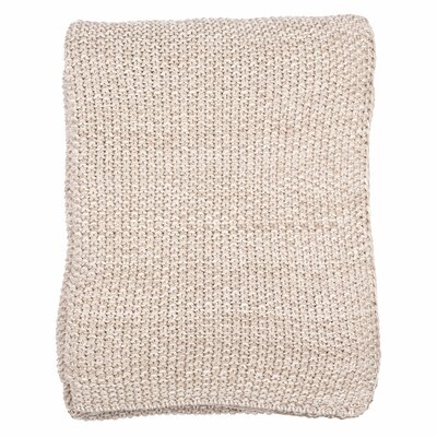 Motley Moss 100% Combed Cotton Throw Color: Stone/Natural