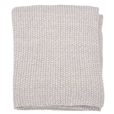 Motley Moss 100% Combed Cotton Throw Color: Soft Gray Melange/Natural