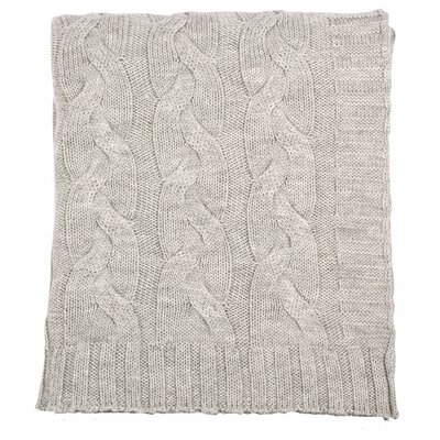 Hampton 100% Merino Wool Throw Color: Light Gray Melange
