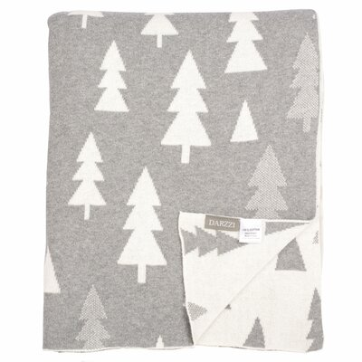 Pine Tree 100% Combed Cotton Throw Color: Gray / White