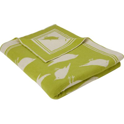 Bird Cotton Throw Color: Green/Natural