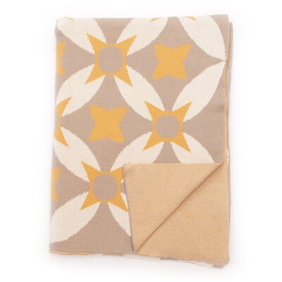 Aalam 100% Cotton Throw Color: Honey Gold/Gray/Natural