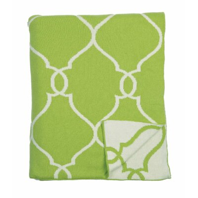 Lattice 100% Cotton Throw Color: Green Natural