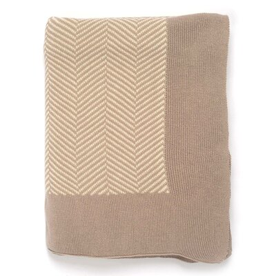 Herringbone 100% Cotton Throw Color: Stone/Natural