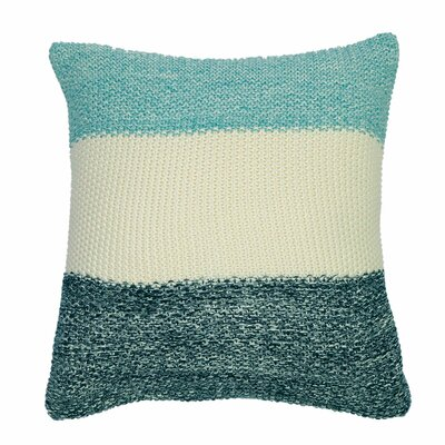 Marl Moss Stripe Pillow Cover Color: Navy/Natural/Beach Blue