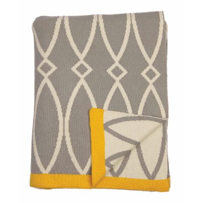 Arc 100% Cotton Throw Color: Light Gray/Natural/Yellow Trim