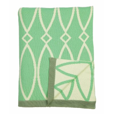 Arc 100% Cotton Throw Color: Sage Green/Natural/Gray Trim