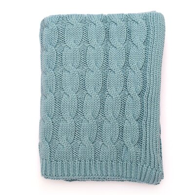 Big Cable 100% Cotton Throw Color: Beach Blue