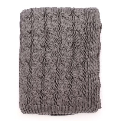 Big Cable 100% Cotton Throw Color: Gray